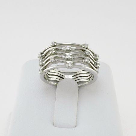 BAND RING by GIANNI CARITA' - 18 kt white Gold -Ct 0,28 Diamonds G /VVS2