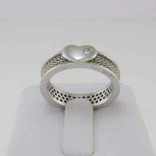 GIANNI CARITA' Anello Coll. CHAIN - Cuore centrale - Diamante Ct 0,03 G - VVS2