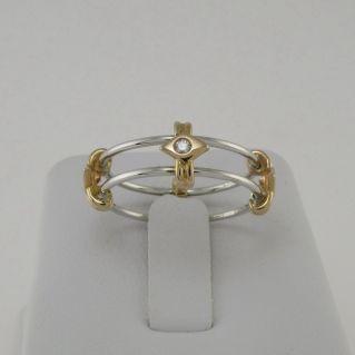 GIANNI CARITA' Anello Oro Bianco, inserti Oro Rosa 18 kt Diamanti  Ct 0,10 H-VS