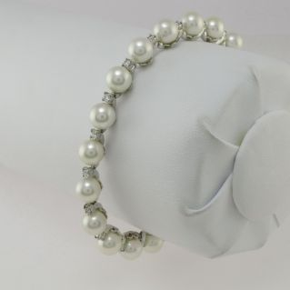 DAMIANI White Gold Bracelet, Natural Akoya Pearls mm 7-7.5 DIAMONDS ct 0.71 H