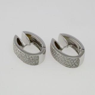 Belles boucles d'oreilles en or blanc 18 kt - diamants Ct 1.22 H-VS