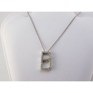 Necklace with initial central B - 18 kt white gold, 0,15 Ct diamonds