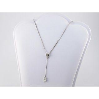 Collier brillant central - Ct 0.05 Diamant, or blanc 18 kt