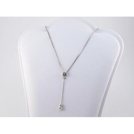 Girocollo Punto Luce - Centrale a pendente con Diamanti Ct 0,05 - Oro Bianco