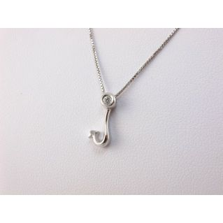 Necklace with central 'fishing hook' - Ct 0,03,Diamond, 18 kt White Gold