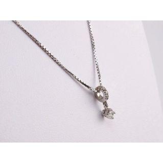 Necklace central brilliant - 0,08 Ct Diamant - 18 kt White Gold