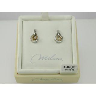 BOUCLES D'OREILLES MILUNA, Or blanc et rose 18 kt avec Diamants