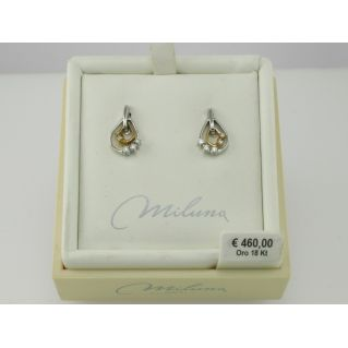 EARRINGS MILUNA - 18 kt white and pink gold with Diamonds