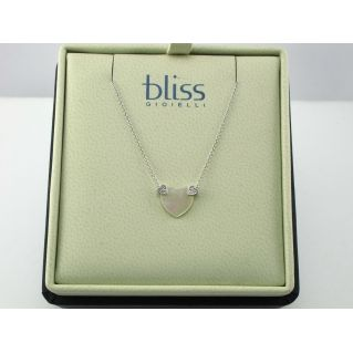 BLISS - Girocollo in Oro 9 kt - Cuore in Madreperla con Diamanti