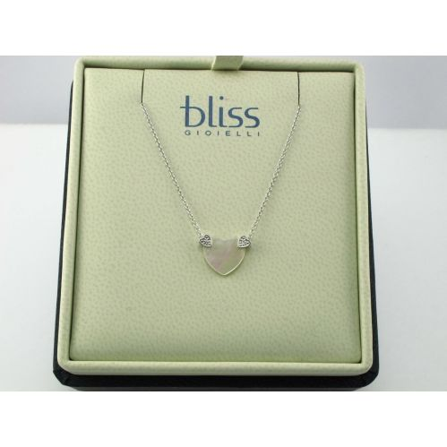 BLISS - Gold Necklace 9 kt - Heart in Mother of Pearl with Diamonds