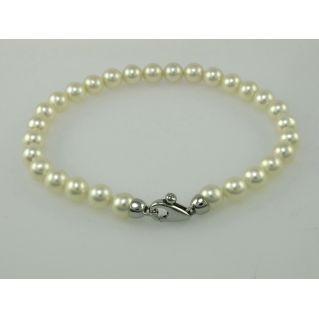 Bracelet NIMEI cultured pearls freshwater, lock white gold with diamond