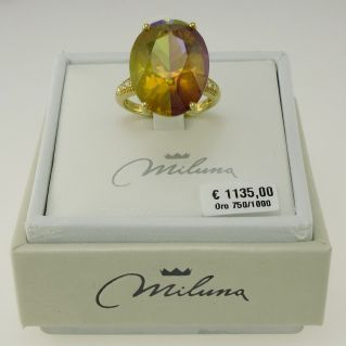 Ring MILUNA - Exceptional triplet of Gemstones - 18 Kt yellow gold