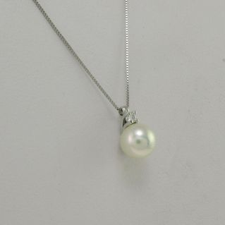 Necklace PENSIERI - Pendant with Pearl and Diamond Pt 2.5 G-VS-White 18 Kt