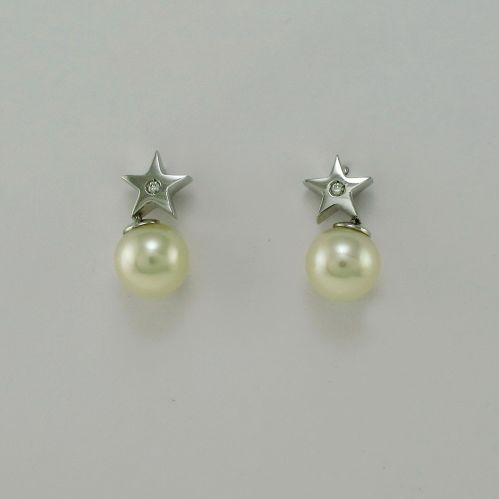 GIANNI CARITA' FOGI Line - Earrings Pearls and Diamonds H-VS - White Gold