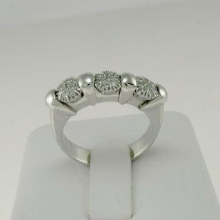 RING TRILOGY Craft Italian - Diamanten n. 24 - Ct 0,22 -18 kt Weißgold -Garantie