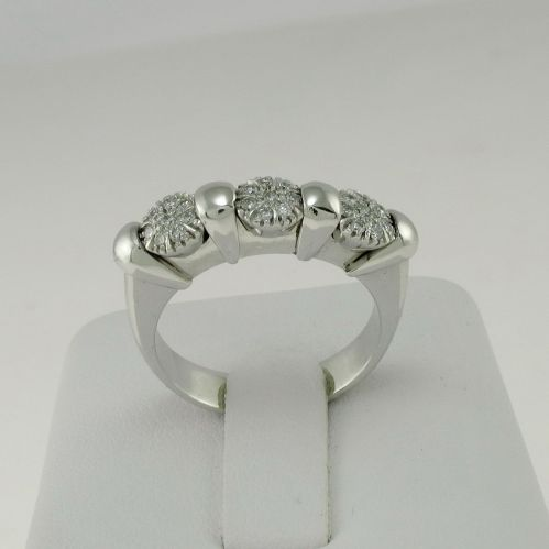 RING TRILOGY italian goldsmith's work handcrafted -Diamonds Ct 0,22 - Warranty