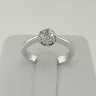 Ring mod. Diamantsolitaire pflastern Diamanten Ct 0.20 F/G -VS 18 kt Weißgold