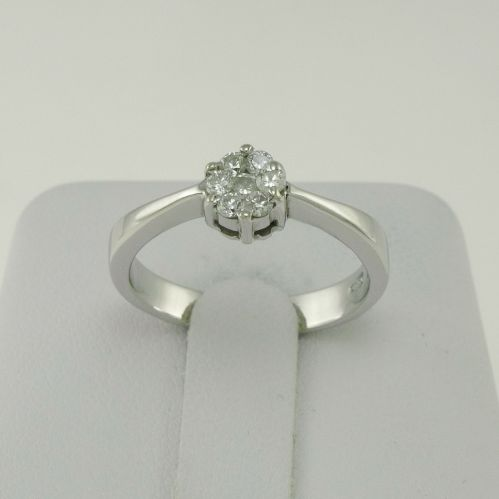 RING model SOLITARY with Number 7 Diamonds - Ct 0.20 F/G -VS - 18 kt Gold