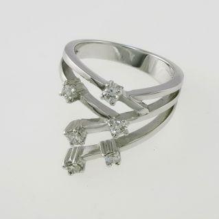 Anello a fascia -Oro Bianco 18 kt -Artigianato italiano- Diamanti H/VS - Ct 0,36