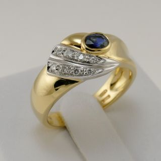 DAMIANI Ring - 0.44 Ct Central sapphire and 0.08 Ct side diamonds - 18 Kt Gold