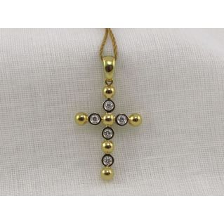 Crucifix by DAMIANI - 18 kt Yellow and White Gold - DIAMONDS 0.20 Ct - H Color