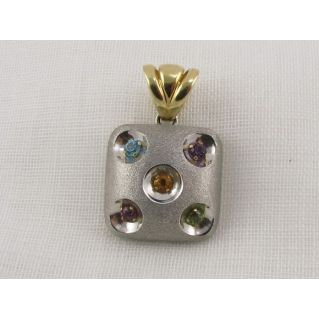 Shaped pendant Dado, Yellow and White Gold with Crystals hydrothermal