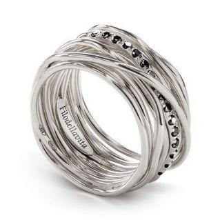 Filodellavita Ring, 13 Drähte, Palladium Silber 950 + Diamanten Blacks Ct 0,21