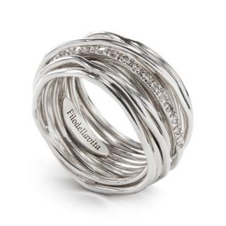 FILODELLAVITA ring, 13 WIRES, PALLADIUM SILVER 950 + WHITE DIAMONDS 0.21 Ct