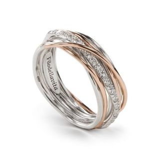 FILODELLAVITA ring, 7 WIRES 9 Kt PINK GOLD, PALLADIUM SILVER 950, DIAMONDS 0.21