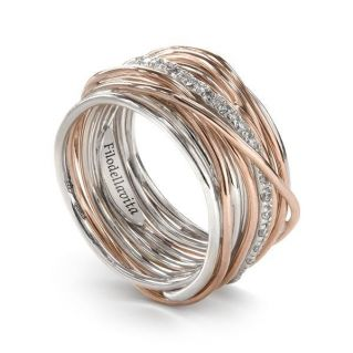 FILODELLAVITA ring, 13 WIRES 9 Kt PINK GOLD, PALLADIUM SILVER 950, DIAMONDS 0.21