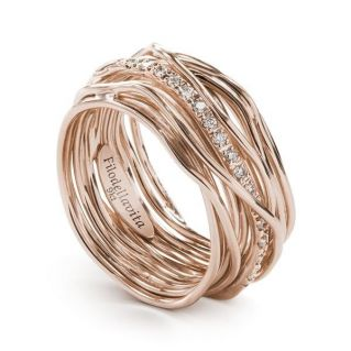 FILODELLAVITA ring, 13 WIRES 9 Kt PINK GOLD - WHITE DIAMONDS 0.18 Ct