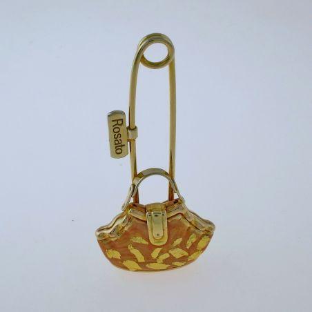 Brooch shaped handbag ROSATO, 750 Yellow Gold and Enamel - Coll. Bags