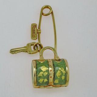 Spilla a Borsetta ROSATO, Oro Giallo 750 e Smalti - Collezione Bags