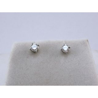 Orecchini Solitario 'Punto Luce' - Oro Bianco - Diamanti Ct 0.30